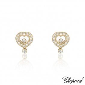Chopard Yellow Gold Happy Diamonds Heart Earrings